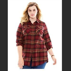Roamans Red Plaid Flannel Shirt NEW NWOT 20W Top